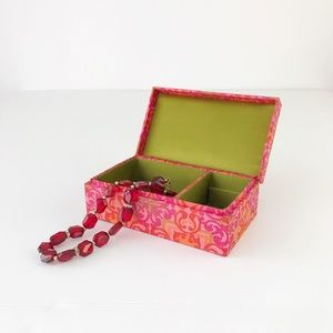 Vintage Pink Silk Jewelry Box Travel Small Mini